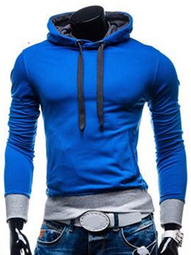 Color Block Simple Cotton Blends Men's Hoodie