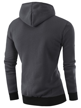 Zipper Color Block Men's Cotton Blends Hoodie