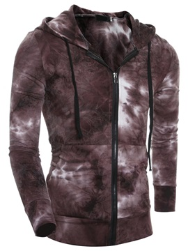 Gradient Color Zipper Cotton Blends Men's Casual Hoodie