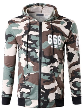 Letter Printed Camouflage Men's Casual Hoodie
