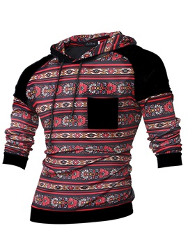 Floral Printed Patchwork Men's Chest Pocket Hoodie