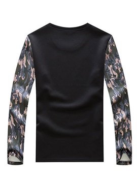 Number Printed Camouflage Patch Men's Hoodie