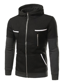 Zipper Decorated Casual Men's Hoodie