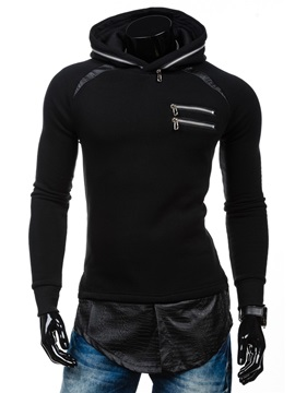 Zip Decorated PU Patch Men's Causal Hoodie