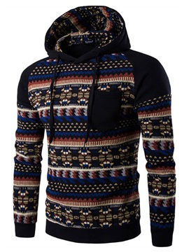Color Block Vogue Pattern Men's Chest Pocket Hoodie