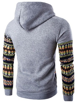 Patchwork Chest Pocket Men's Causal Hoodie