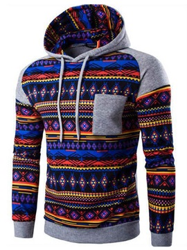 Chest Pocket Men's Causal Ethnic Hoodie