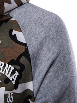 Camouflage Letter Printed Men's Casual Hoodie