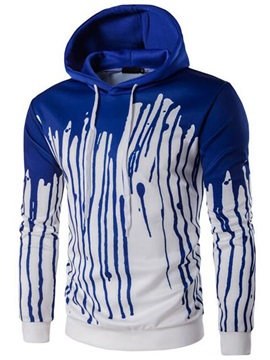 Tidebuy Hooded Long Sleeve Print Color Block Slim Pullover Men's Hoodie