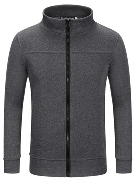 Simple Zip Front Men's Casual Hoodie