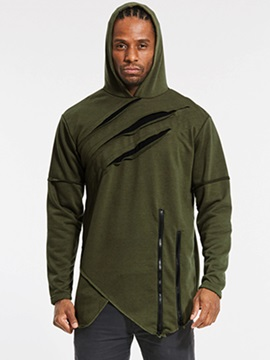 Irregular Mid-Length Plain Men's Hoodie