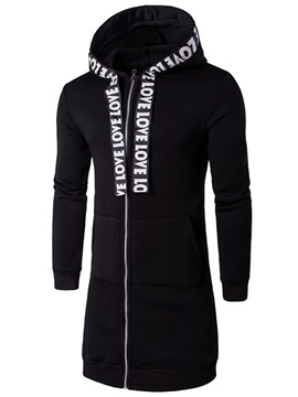 Hooded Letters Printed Slim Zipper Men's Hoodie