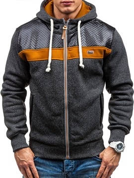 Hooded Patchwork Color Block Lace-Up Zipper Men's Hoodie