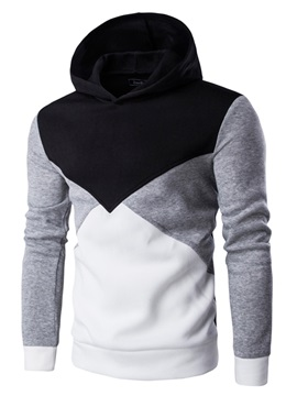 Warm Cotton Mosaic Color Hooded Men's Hoodies