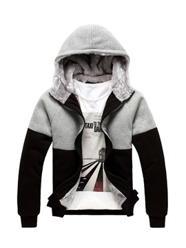 Mosaic Color Zipper Warm Men's Hoodies