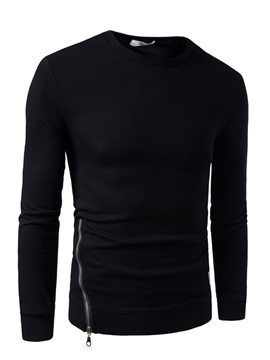 Zipper Solid Color Slim Round Neck Men's Hoodies