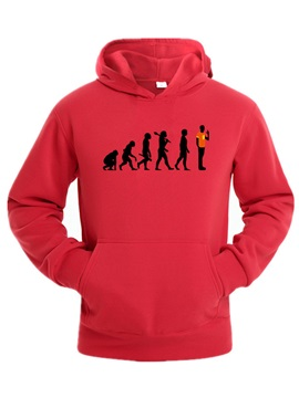 Solid Color Humen Evolution Pattern Pocket Men's Hoodie