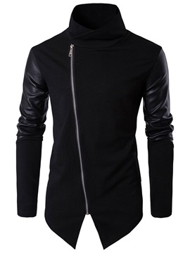 Solid Color Stand Collar Oblique Zipper Men's Hoodie