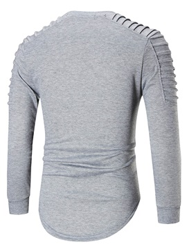 Tidebuy Plain Pleated Long Sleeve Men's Pullover Hoodie