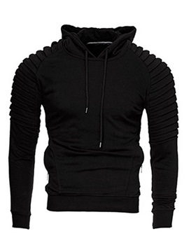 Folded Big Pocket Solid Color Long Sleeve Slim Men's Hoodie