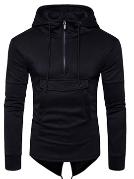Medium Length Solid Color Big Pocket Slim Men's Hoodie