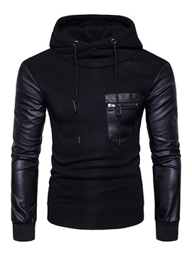 Mosaic Leather Sleeve Slim Pocket Men's Hoodie