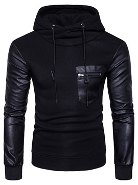 Mosaic Leather Solid Color Slim Long Sleeve Men's Hoodie