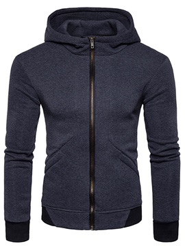 Zipper Pockets Baggy Solid Color Long Sleeve Men's Hoodie