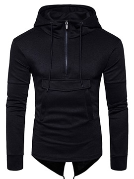 Solid Color Zipper Big Pocket Slim Long Sleeve Men's Hoodie