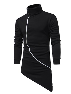 High Collar Solid Color Diagonal Zipper Medium Length Men's Hoodie