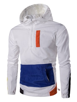 Mosaic Color Zipper Wind-Proof Long Sleeve Slim Men's Hoodie