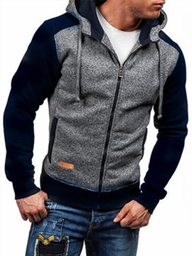 Hooded Zipper Patchwork Long Sleeve Men's Cardigan Hoodie