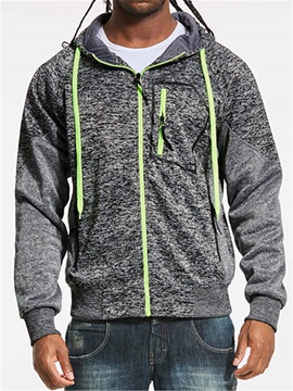 Hooded Patchwork Zipper Long Sleeve Men's Hoodie