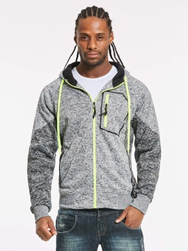 Tidebuy Hooded Patchwork Zipper Long Sleeve Men's Hoodie