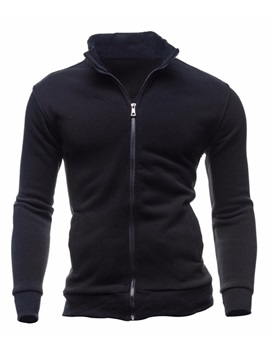Tidebuy Stand Collar Solid Color Slim Men's Hoodie