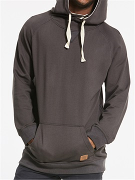 Hooded Solid Color Slim Men's Pullover Hoodie