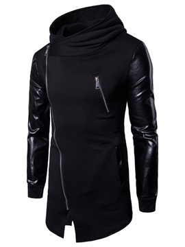 Tidebuy Hooded Patchwork Inclined Zipper Men's Hoodie