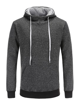 Tidebuy Hooded Plain Lace-Up Men's Pullover Hoodie