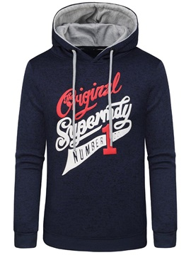 Hooded Letter Print Lace-Up Men's Pullover Hoodie