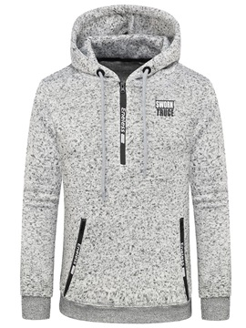 Tidebuy Plain Zipper Hooded Pullover Men's Hoodie