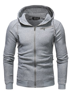 Hooded Plain Zipper Men's Cardigan Hoodie