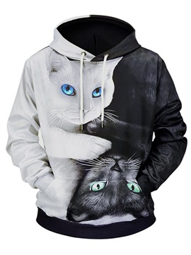 Hooded Cat Color Block Print Men's Pullover Hoodie