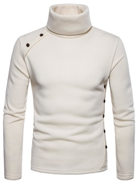 Plain Turtleneck Long Sleeve Men's Pullover Sweater