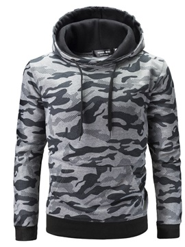 Camo Hooded Lace-Up Men's Pullover Hoodie