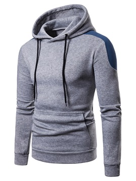 Hooded Lace-Up Color Block Patchwork Men's Pullover Hoodie