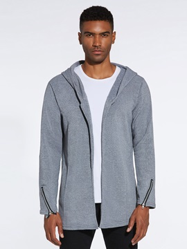 Plain Hooded Cardigan Men's Hoodie