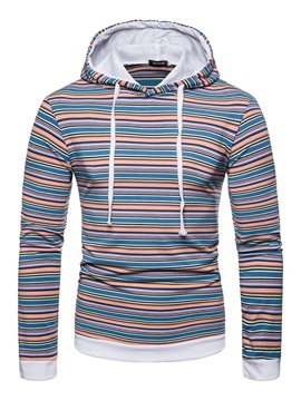 Hooded Color Block Stripe Men's Pullover Hoodie