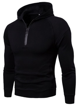 Plain Hooded Zipper Men's Pullover Hoodie