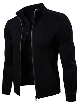 Stand Collar Plain Zipper Men's Cardigan Hoodie