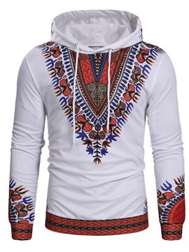 Dashiki Print Hooded Lace-Up Men's Pullover Hoodie
